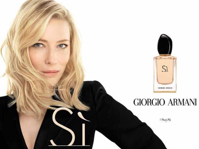 perfumes e roupas da marca Armani